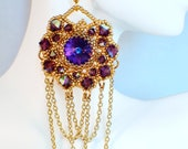 Purple and Gold earrings (Netted crystal chandeliers)