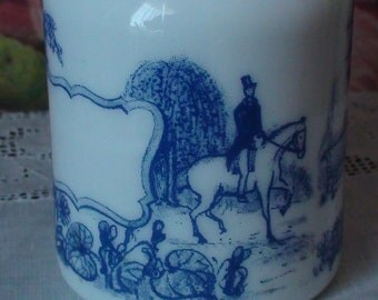 Milk Glass Jar With Lid. Made in Belgium. Cobalt Blue and White.  Spice Jar With Romantic Garden Scene.