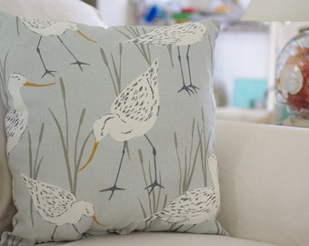 Beach Decor Sandpiper - Throw Pillow - PICK YOUR FABRIC