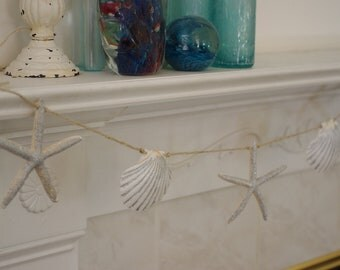 Beach Decor Garland -  Starfish and Seashell Silver and White Garland