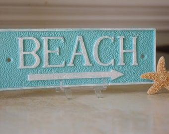 Coastal Decor Cast Iron Rectangle Beach Sign Wall Decor - PICK YOUR COLORS