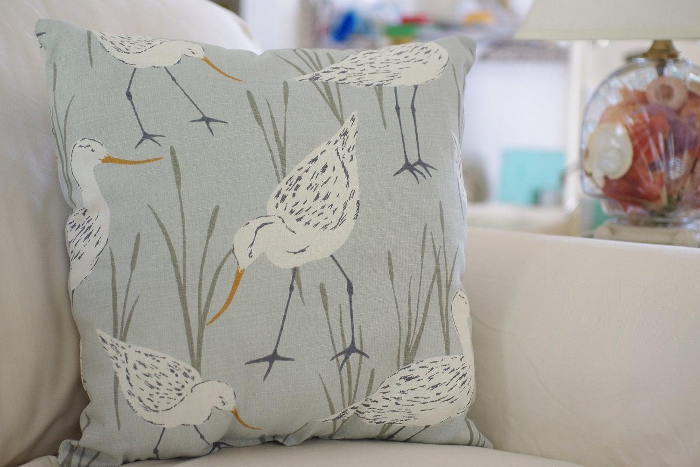 Beach Decor Sandpiper Throw Pillow Pick Your Fabric