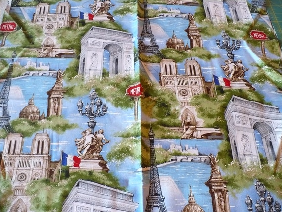DESTASH - Landmarks of Paris Eiffel Tower Arc de Triomphe Fabric Pillows -Tote Bag