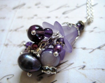 Purple Flower Blossom Cluster Necklace