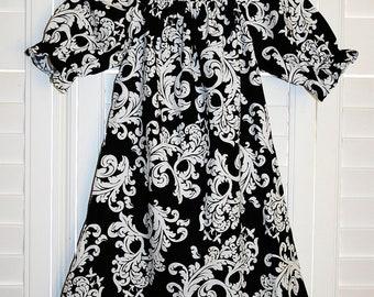 Black & White Damask    Short Sleeves  Peasant Dress Girls Dress . size 6m- 12m, 18-24, 2t, 3t, 4t, 5t, 6t, 7t, 8t