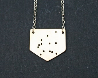 Aquarius Star Sign Constellation Necklace in Brass or Sterling Silver