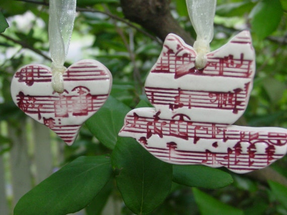 Dark Red, Sheet Music,  Ceramic Dove and Heart - Wedding or Christmas Ornament