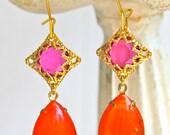 Vintage Tangerine Orange Pear Shape Fuschia Pink Rhinestone Gold Brass Filigree Bridal Wedding Dangle Earrings