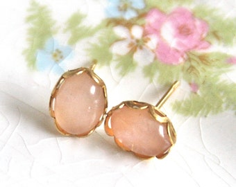 Vintage Pink Moonstone Opal  Oval Lacy Brass Gold Bridal Scalloped Post Earrings - Bridal, Bridesmaid Earrings