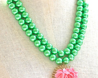 Green Glass Bead Gold Brass Pendant Ruffled Pink Rose Flower Pendant Double Strand Pearl Statement Necklace- Wedding, Bridesmaid