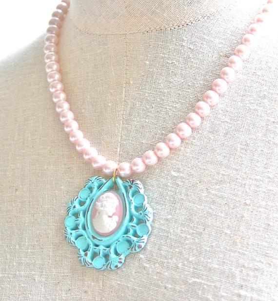 Pink Cameo and Pearl Glass Bead Vintage Aqua Blue Filigree Pink Cameo Pendant Glass Bead Necklace - Bridesmaids , Wedding,Romantic