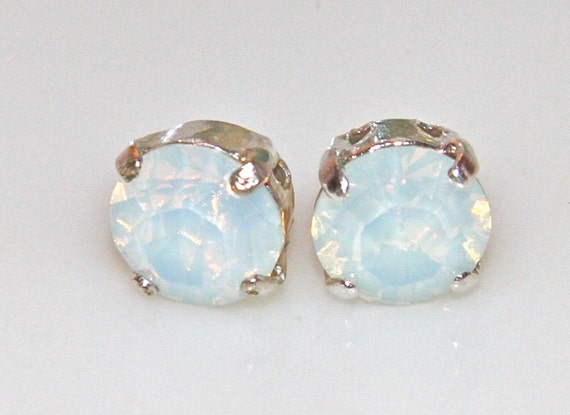 Swarovski White Opal Silver Setting Round Faceted Rhinestone Post Earrings - Wedding, Bridal , Bridesmaid, Beach