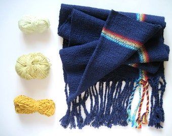 Navy Handwoven Scarf - cotton with rainbow detail titled 'Chakras in the Dark' Fall Accessory