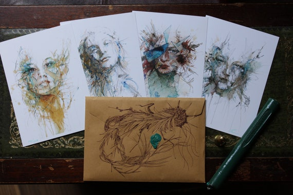 Limited Edition Pack of 4 postcards with varnished glass shards. in hand drawn envelope