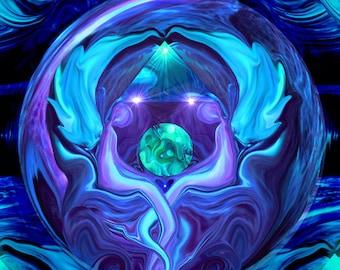 "Blue Violet Wall Decor, Reiki Angel Art, ""Healing Circle"""