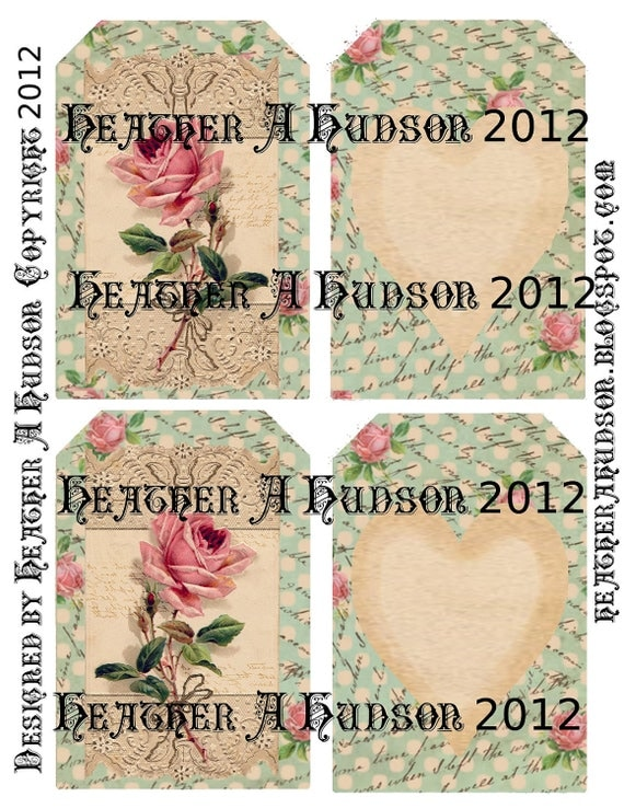 Shabby Vintage Blue Roses Digital Collage tags
