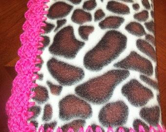 Baby Blanket  Giraffe Fleece with Hot Pink Crochet Edge