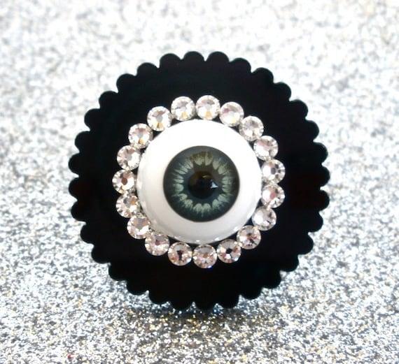 Gray Eyeball Swarovski Acrylic Ring