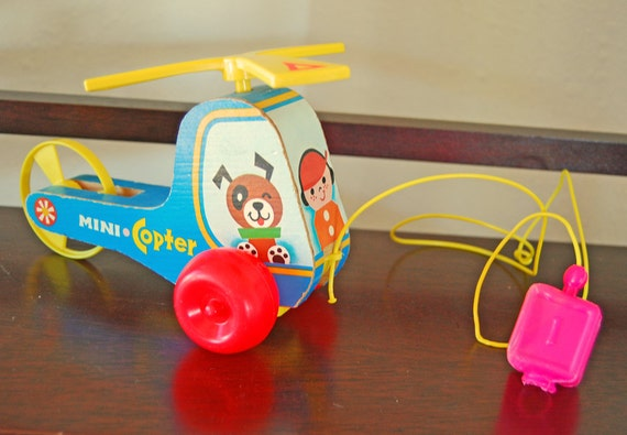 Fisher Price Mini Copter Childrens Pull Toy