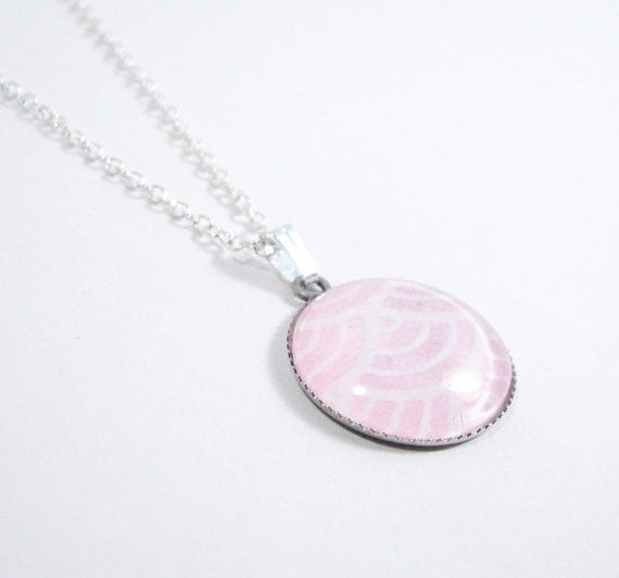 "Pink Pendant Necklace 3/4"" Round Japanese Washi Pendant"