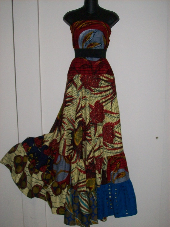 RESERVED for Shana --Simply Elegant Boho Hippie Gypsy Afro Chic African Print Patchwork Strapless Maxi dress