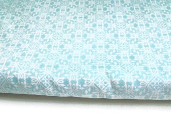 Aqua Medallion Fabric, Elegant Fabric, Cottage Fabric