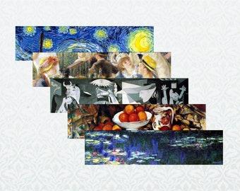 Bookmarks PDF, Great Works of Art: New Visions, 5 designs, printable digital download