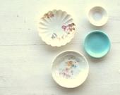 Vintage Porcelain Plates Assorted China Trinket Dish Butter Pats Display Floral Design Blue Haviland Miniatures