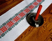 Christmas Table Runner, Red and Green,  Dresser Scarf, Holiday Decor, Swedish Runner, Table Linen, Table Decoration, Buffet Table Runner