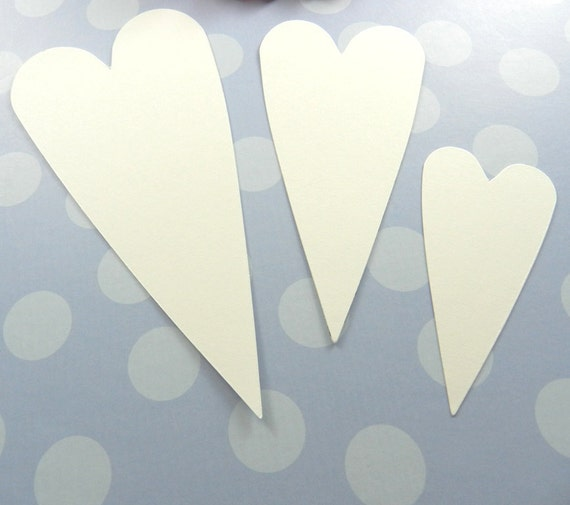 12 White Primitive Heart Die Cuts, Weddings, Valentine's Day, Embellishment, Decoration, Acid and Lignin Free