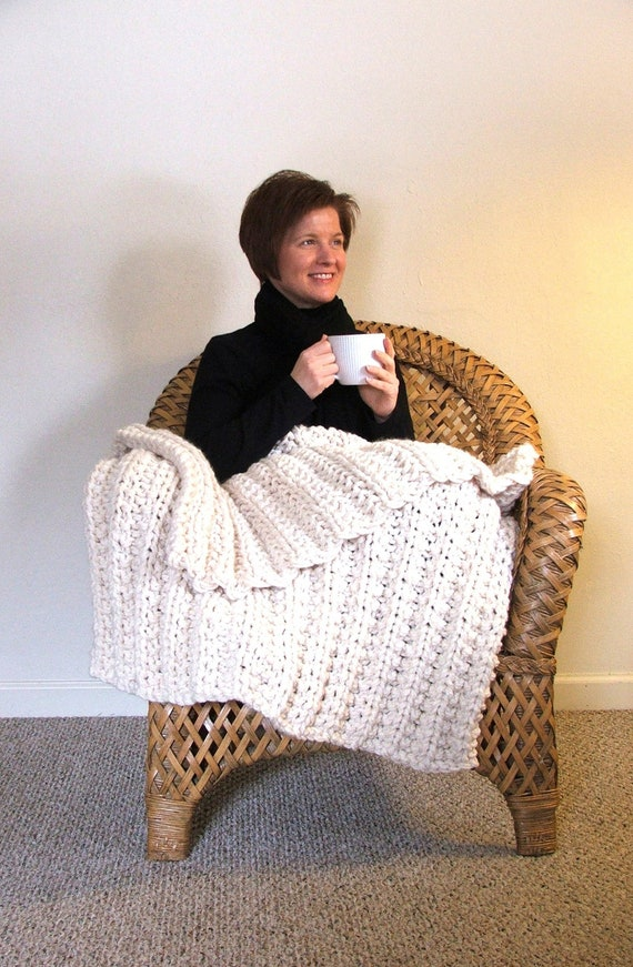 Cream White Chunky Knit Ribbed Throw Blanket - Great Housewarming Present or Wedding Gift