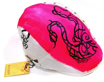 Newsboy Cap, White with Hot Pink Designer Handpainted Peacock Hat Including Stud (Hand Painted Initials or Names can be added)