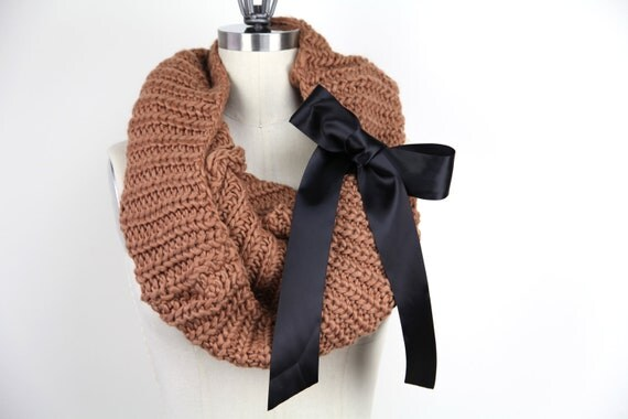 Knitted Scarf Camel Knit Infinity Scarf Camel Knit Snood