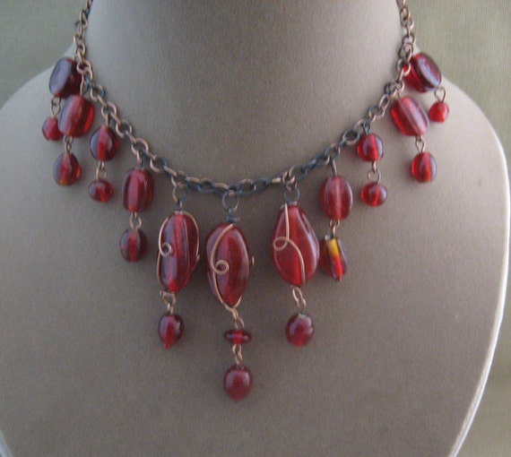Red Glass Necklace, Draping red beaded necklace set on sale
