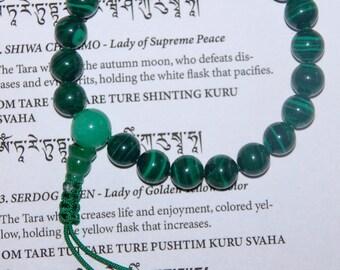 Tibetan mala Malachite wrist mala/ bracelet for meditation GMS-41