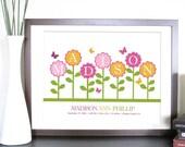 Nursery Birth Announcement, Floral Garden, 11X14 Inches, Nursery Artwork, Newborn gift, Baby Gift