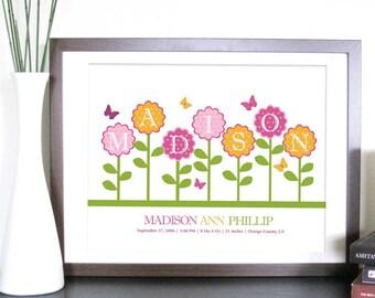 Nursery Birth Announcement, Floral Garden, 8.5X11 Inches, Nursery Artwork, Newborn gift, Baby Gift
