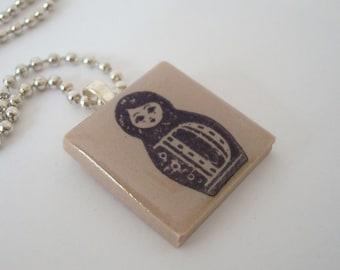 Matryoshka Doll Necklace Rubber Stamped Porcelain Pendant