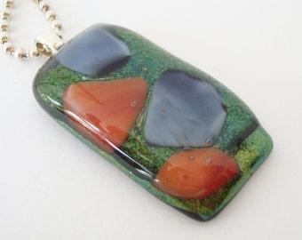 Fused Glass Pendant Glittery Green Orange Purple