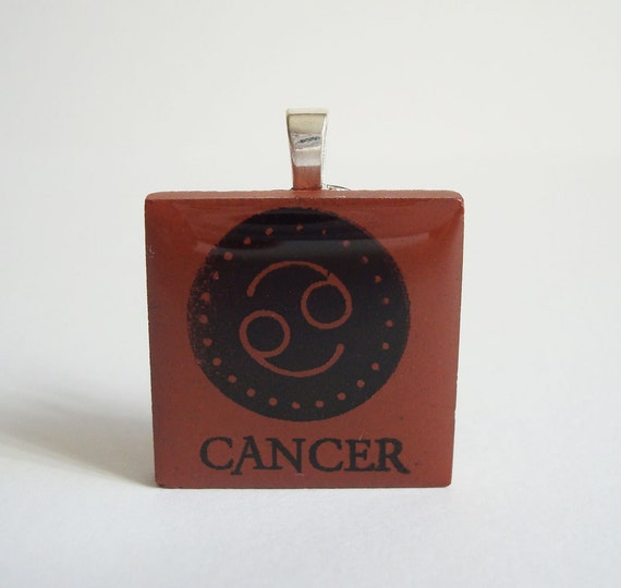 Cancer the Crab Necklace Zodiac Jewelry Rubber Stamped Porcelain Tile