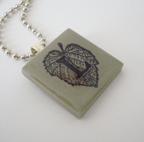 Initial L Leaf Necklace Personalization Rubber Stamped Porcelain Pendant