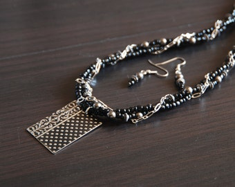 Black and Silver Chain Triple Strand and Earring Set