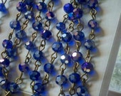 36 Inches of 6mm Faceted Round AB  Cobalt  Blue  Glass Beaded Rosary Chain With Brass,Gold,Gunmetal, or Silver Links