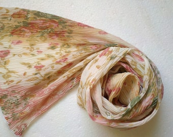 Romantic Shabby Chic Micro Pleated Floral  Scarf