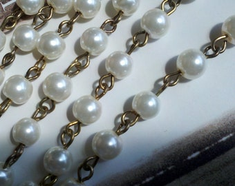 36 Inches,  6 mm Ivory Glass Pearl with   Antique Gold Tone Loop  Links, Handmade Jewelry Supply,  Bridal Embellishment