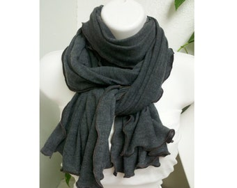 Heather Slate  Cotton Jersey Knit Scarf, Unisex Gray Long Scarf, Shabby Chic Cotton Scarf, Fashion Accessory