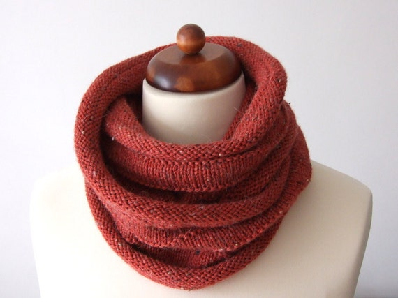 hand knit cowl, red infinity scarf, neckwarmer