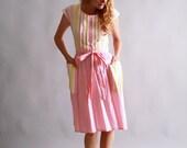 1950s wrap dress / 50s sundress / Pink Lemonade