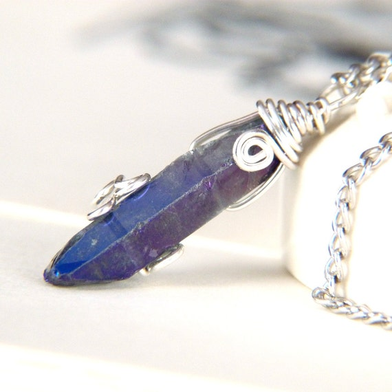 Purple Blue Crystal Wire Wrapped Pendant Necklace - Wire Wrap Jewelry