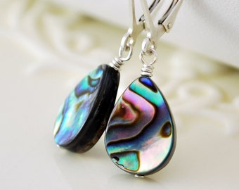 Simple Abalone Earrings, Paua Shell, Wire Wrapped, Leverback, Sterling Silver Jewelry